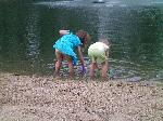 Kids swimming in the pond - <p>Here's the pond behind the trailer at Grass Lake.</p>